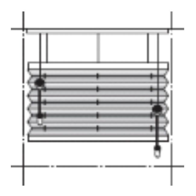 Modell: AO20 - Frihängande duettegardin med linlås i överlist på båda sidor. Vävpaket kan placeras var som helst på fönstret. Manövreras med dubbelreglage. Barnsäkerhet ingår. Minbredd: 400 mm. Maxbredd: 2000 mm. Minhöjd: 600 mm. Maxhöjd: 2500 mm.